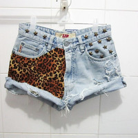 Make To Order - Hipster Vintage High Waist Jeans Leopard Printed Brass Star Studded Cut Off Shorts