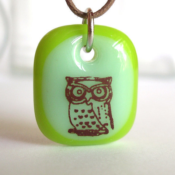 Owl on Green A fused glass pendant necklace by ellecools on Etsy
