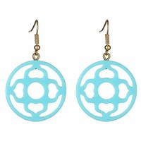 Preppy Aqua  Earrings - Magnolia Design from the Palm Gifts - Unique Monogrammed Gifts for Every Occasion