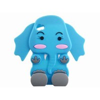 Amazon.com: Cute 3D Cartoon Elephant Silicone Case Cover Skin for iPhone 4 4S Blue: Cell Phones & Accessories