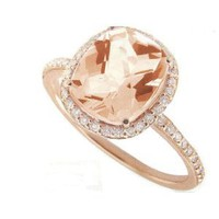 Meira T 14K Rose Gold &amp; Diamonds - Cushion Cut Pink Morganite Center Stone - Right Hand Ring Size 6.5