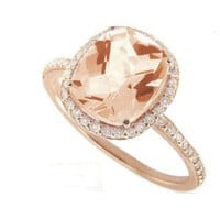 Meira T 14K Rose Gold & Diamonds - Cushion Cut Pink Morganite Center Stone - Right Hand Ring Size 6.5
