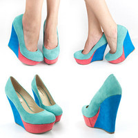 NEW AQUA TURQUOISE BLUE CORAL PINK ROUND TOE HIGH HEEL PLATFORM WEDGE PUMPS SZ 8