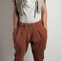 Wool Pants felted, yoga pants, pockets and little ruffles, knitted pure merino wool