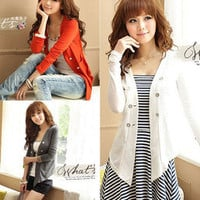 Smart stylish woman double-breasted collarless long sleeve outwear orange white