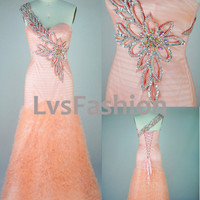 A Line One Shoulder Sweetheart with Beading Tulle Prom Dress Evening Gown, Party Dress