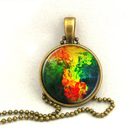 10% SALE - Necklace Water Ink Abstract Colourful Pendant Necklaces Gift