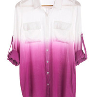 Live and Let Dip Dye Top in Red-Violet | Mod Retro Vintage Short Sleeve Shirts | ModCloth.com