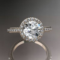 14kt rose gold diamond unique engagement ring,wedding ring ADER95