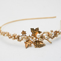 golden goddess vintage tiara by BeSomethingNew on Etsy