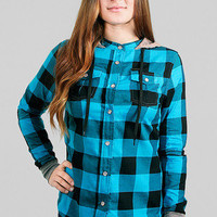 Girls The Observer Plaid Hooded Button Up - Glamour Kills Clothing