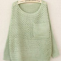 Green Hollow Retro Pocket Round Neck Sweater