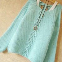 Mint Hollow Knit Sweater With Bow on Luulla