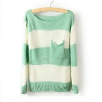 Green White Stripe Pocket Sweater For Women from Cool   Style
