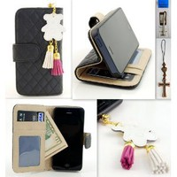 Amazon.com: IP5 Black Qulited Leather Stand Case Card Holder Wallet + Bear Fringed Dust Plug Charm for for Apple Iphone 5 Ship From Hong Kong: Cell Phones & Accessories