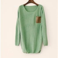 Light Green Patchwork Leather alphabet Pocket Loose Sweater