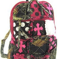 Amazon.com: Cute! Patchwork Camo Cross Print Small Backpack Purse Pink Camouflage: Clothing