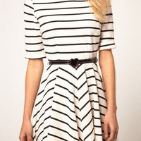 Striped Belted Skater Dress