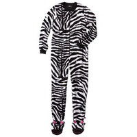 Nick &amp; Nora Women&#x27;s Zebra Footie Pajama - Black/White S