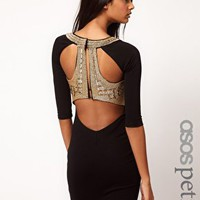 ASOS PETITE Exclusive Bodycon Dress With Embellished Back at asos.com