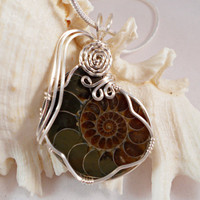 Wire Wrapped Ammonite Fossil Pendant