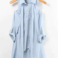 Light Blue Women Asymmetric Cotton Top YL938452lbl from efoxcity