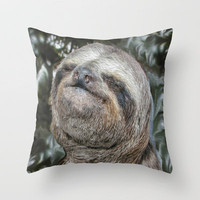 Sloth Throw Pillow by Bruce Stanfield | Society6