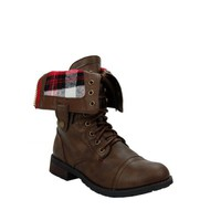 Dark Taupe Plaid Cuffed Military Boot