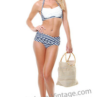 Aquadesiac Ruffle Navy And White Stripe Two Piece Bikini - Unique Vintage - Cocktail, Evening &amp; Pinup Dresses