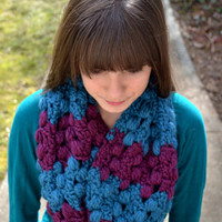 Purple and Teal Striped Infinity Scarf