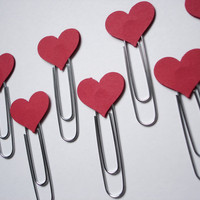 8 Valentine Decorative Heart Paper Clips  bookmarks by BelowBlink