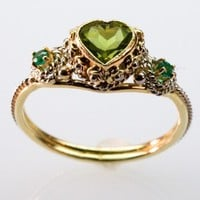 Peridot and Emerald Heart Ring by FernandoJewelry on Etsy