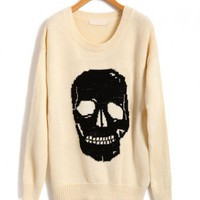 White Loose Fit Knit Jumper with Contrast Oversized Skull Print