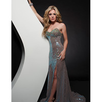 Jasz Couture 2013 Prom - Turquoise Nude Sequin Strapless Gown - Unique Vintage - Cocktail, Pinup, Holiday & Prom Dresses.