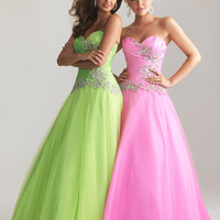 Lime Green Taffeta &amp; Tulle Strapless Lace Up Prom Gown - Unique Vintage - Cocktail, Pinup, Holiday &amp; Prom Dresses.
