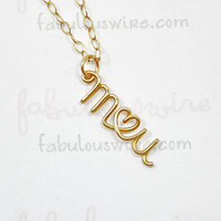 Lovers Two Initials With Heart Necklace - Custom 14K Gold Filled Wire