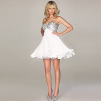 TUTU Short Corset Chiffon Wedding Evening Cocktail Party Homecoming Prom dress