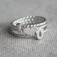 I (heart) U Ring Set - sterling silver with twist band - any size available