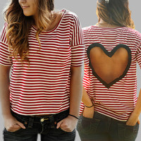Ivory/Berry striped Heart Cut out Shirt Size by BglorifiedBoutique
