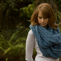 Oversized Infinity Scarf, Blue Crochet Chunky Scarf, Hooded Scarf, Wool Cowl
