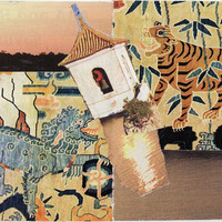 paper collage art for framing or notecard TIGER and SNOW LION - original handmade ooak recycled upcycled