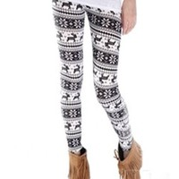 *Free Shipping* Women&#x27;s Black Deer Pattern Leggings Pants QNSD-2