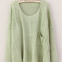 Green Retro Pocket Bat Loose Sweater