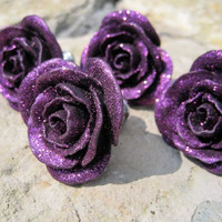 Rose Drawer Knobs in Deep Purple with glitter SET of 4 by DaRosa