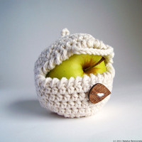 White Apple Cozy Cream Fruit Cozy  Cotton Teacher by natalya1905