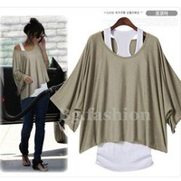Women's Loose Top Batwing Shirt {2 PCS Blouse+Tank}