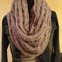 Soft knitted infinity scarf