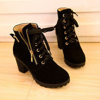 Lace Up High Top Wedge Ankle boot