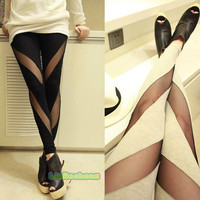 Cotton Mesh Stretch Striped Leggings in Black&amp; White