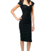 STOP STARING! MAD MEN Black Pleated Bodice Cap Sleeve Wiggle Dress - S to 3XL - Unique Vintage - Cocktail, Evening  Pinup Dresses